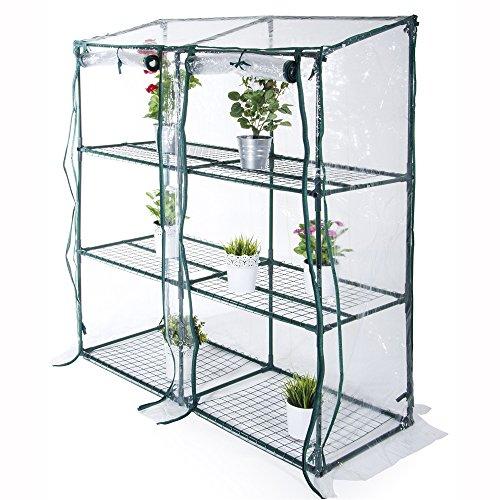 Gewächshaus mit 3 Ablagen - Stahlbau L 152 x P 50 x H 135 cm, um Ihre Pflanzen in Ihrem Garten oder auf Ihrem Balkon zu schützen