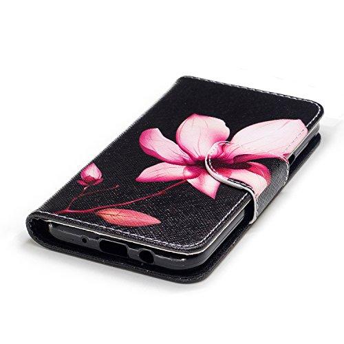 Samsung Galaxy J3 (2017) (5.0 pouce) Coque , PU Cuir Étui Protection Wallet Housse la Haute Qualité Pochette Anti-rayures Couverture Bumper Magnétique Antichoc Case Anfire Cover pour Samsung Galaxy J3 Rouge Lotus