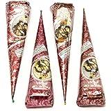 Pride Of India - Natural Herbal Mehndi Cones, Buy 2 - Get 2 Free - 35gm each - No Chemicals/Dyes