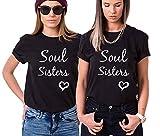 Best Friends Tshirt für Zwei Mädchen Damen mit Soul Sister Freundin Freundschaft Shirts BFF Freunde Geschenk Shirt Sommer Baumwolle Tops 2 Stücke(Schwarz+Schwarz,Sisters-M+M)