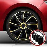 Autoteppich Stylers AKTION-02 16 Zoll Radkappen Bundle (Schwarz-Gold) passend für Fast alle Fahrzeugtypen – universell