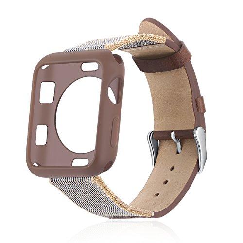 IWVX Stricken Gurt + Lederband Uhrenarmband für Apple 42mm Slip-Style Leder Watch Band für Apple Watch Series 1Serie 2Serie 3Sport und Edition Versionen Alle Modelle