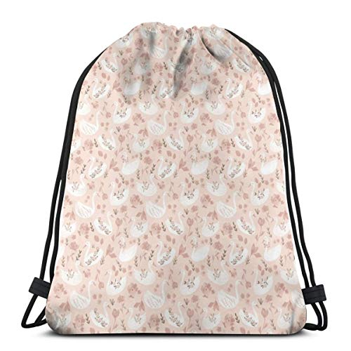 e2dafe7ee0c4 vintage cap Lovely Swans- Scale Baby Pink Swans Nuresery Girls Light Pink  Animal Swans Flower Swans_6020 3D Print Drawstring Backpack Rucksack ...