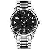 BUREI Klassische Herren Uhren Armbanduhr Japanisches Quarzwerk Kratzfeste Linse Edelstahlband (Schwarz)