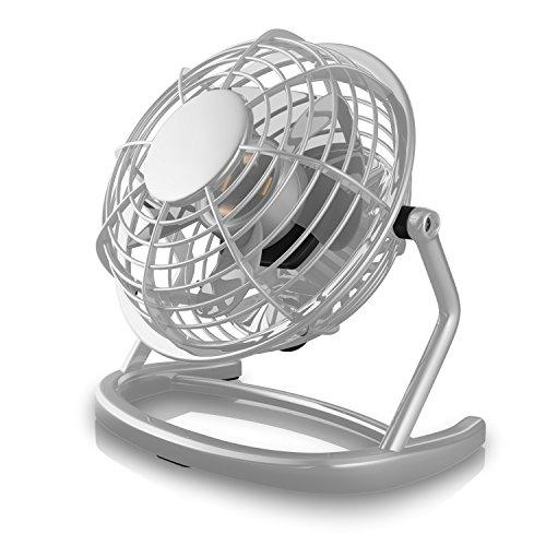 CSL - USB Ventilator | Tischventilator/Fan/Lüfter | optimal für den Schreibtisch inkl. An/Aus-Schalter | PC/MAC/Notebook | in grau