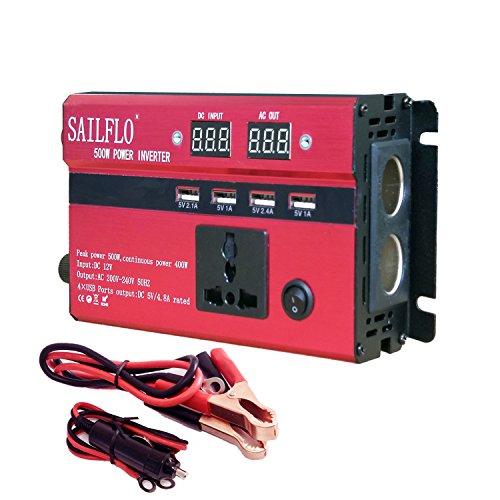 Inverter di potenza 500 W Car Power inverter converter DC 12 V to AC 220 V,Auto/Batteria/Solare, Convertitore di potenza con 1 prese CA e 4 porte USB e 2 uscite per accendis