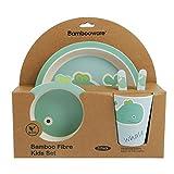 ORNAMI Bambú de–Set de vajilla para niños, Redondo–Plato de bambú, niños de Cubiertos, Cuenco, niño Taza de bambú, Respetuoso con el Medio Ambiente, sin BPA y lavavajillas, 5Piezas