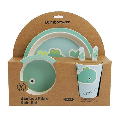 ORNAMI Bambú de-Set de vajilla para niños, Redondo-Plato de bambú, niños de Cubiertos, Cuenco, niño Taza de bambú, Respetuoso con el Medio Ambiente, sin BPA y lavavajillas, 5Piezas