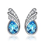 GoSparking Earrings- Aquamarine Blue Crystal- White Gold Plated Alloy- Stud Pierced Earrings- 100% Austrian Crystal- High Quality- Fashionable Gift Idea For Her- Impressive Glowing Effect ER-28156