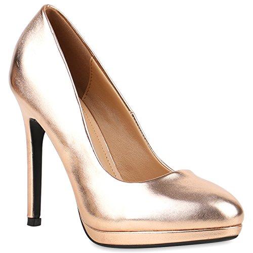 Damen Lack Pumps Stiletto High Heels Metallic Party Abend Plateau Plateau Pumps Schuhe 121247 Bronze 40 Flandell - Bronze Pumps Heels