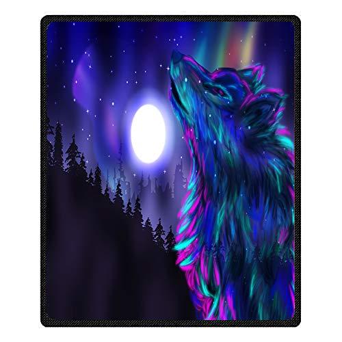 Stillshine 3D Galaxy Aurora Wolf Weiche Kuscheldecken, Bettwäsche Dick Decken Tagesdecke Bettdecke Sofa Reise Decke Kleine Decke Für Kinder (Bunt Wolf, 80 * 130 cm)