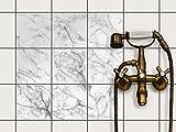 creatisto Bad-Fliesen Fliesen-Folie   Dekor-Sticker Aufkleber Folie Küchenfolie Wand Deko   15x15 cm Design Motiv Marmor weiß - 9 Stück
