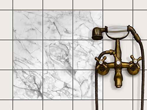 creatisto Bad-Fliesen Fliesen-Folie | Dekor-Sticker Aufkleber Folie Küchenfolie Wand Deko | 15x15 cm Design Motiv Marmor weiß - 9 Stück