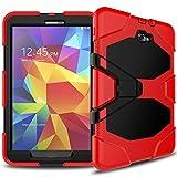 JBTec® Tablet Hybrid-Hülle OUTDOOR #O50 zu Samsung Galaxy Tab A 10.1 2016 / SM-T580 / LTE 2016 SM-T585 - Schutzhülle mit Silikon verstärkt Stossfest mit Displayschutz Ständer Stand-Funktion, Farbe:Rot