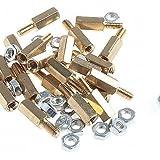 XMQC*Stand-Off roscados de latón tornillo hexagonal pilares con tuercas (M3 x 10mm + 6 / 20 piezas)