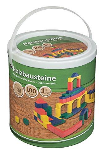 Idena 40030 Holzbausteine in verschiedenen Farben und Formen, ab 12 Monaten, 100 Stück im Eimer