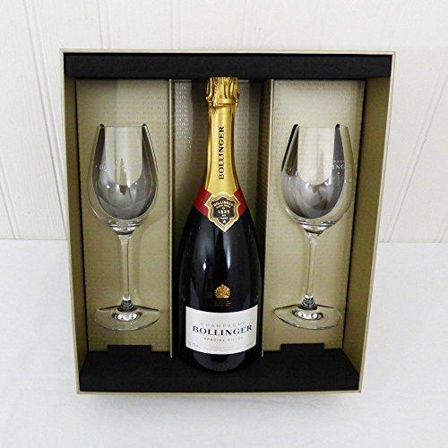 750ml Champagne Bollinger con dos copas de champán - Un regalo de lujo para la esposa, marido, novia, novio, feliz cumpleaños, como agradecimiento