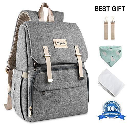 Baby Wickelrucksack mit Wickelunterlage und 2 Haken für Kinderwagen, Große Kapazität Babytasche Reisetasche für Unterwegs(Grau)