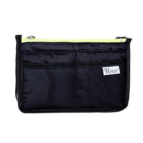 Periea Organizzatore di borsette - Chelsy - Nero con cerniere al neon - 3 colori e dimensioni disponibili (Piccolo, Nero con Zip gialle al neon)
