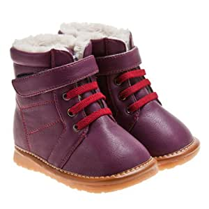 Girls Infant Toddler Squeaky Boots Shoes Purple with Warm Furry Inners UK 4 / EUR 21