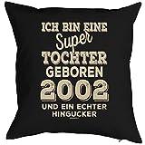 Geschenkidee zum 16 Geburtstag Kissen mit Füllung super Tochter geboren 2002 Polster zum 16. Geburtstag für 16-jähirge Dekokissen