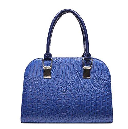 Dame Kuriertasche Schulterhandtasche Art Und Weise Eleganter Reißverschluss Luxuxdruckmuster Blue