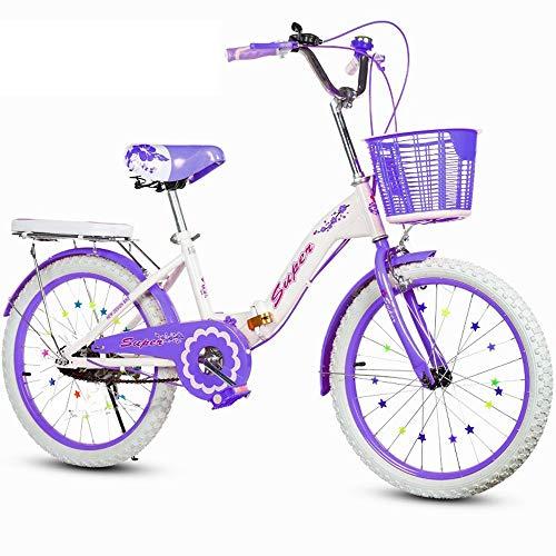 TSDS Kinderfahrrad Klapprad 2 Runden Rosa Fahrrad 20 Zoll / 22 Zoll Rosa Fahrrad Mit Rücksitz (Color : B, Size : 22 Inch)
