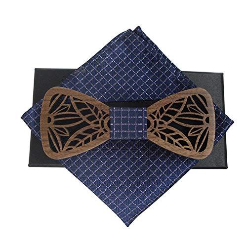 Inciple Pajarita de madera maciza Corbata de lazo clásica Juego de corbatas madera tallada Conjunto estilo Europa Londres Accesorios de boda informales Pajarita de madera ecológica
