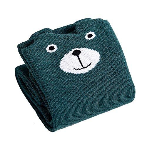 ZHUOTOP Niñas Calcetines hasta la rodilla Medias de algodón Animal de dibujos animados sobre la pantorrilla Calcetines largos 3-12 años Oso verde