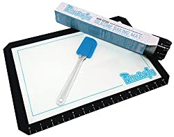 Better Baking Non-stick Professional Silicone Baking Mat with Silicone Spatula - US Half Sheet - (11' X 16 1/2') Half-sized Oven Pans and Pastry Trays - For Macaroons and Other Baked or Frozen Foods - with Ruler