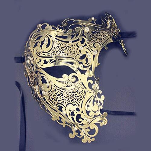 Venezianische Männliche Kostüm - QTJKH Horror Maske Venezianische Maskerade Männlich Weiblich Gold Schädel Venezianischen Metall Kostüm Maskerade Partei Maske Laser Geschnitten Halloween Prom Cosplay Hochzeit Ball Masken @ Y