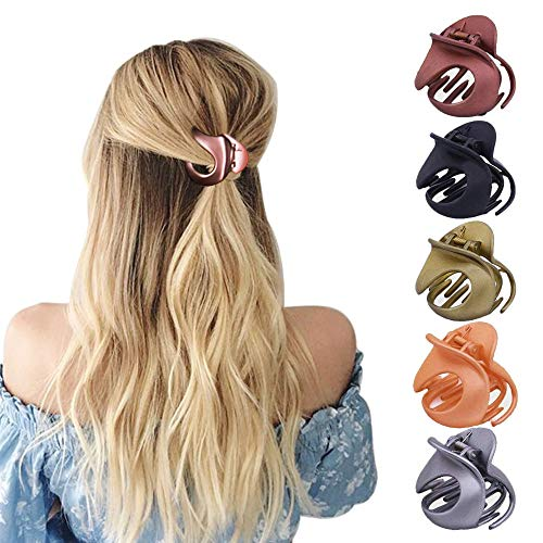 HO2NLE 5 Stücke Haargreifer Damen Haarspangen Haarklammer Acryl Klaue Clips Vintage Haarkneifer Unregelmäßige Rutschfeste Haarnadel Haarkrebs Haarschmuck für Damen Mädchen Kinder, 5 Farben