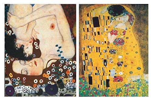 Cuadro Gustav Klimt el beso, maternidad. Set de 2 cuadros de 25x19 cm cada uno