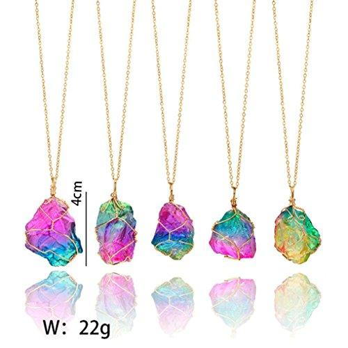 Kette Schmuck Halskette Damen DAY.LIN Regenbogen-Stein-natürlicher Kristallfelsen-Halsketten-Gold überzogener Quarz-Anhänger (Regenbogen-halskette)