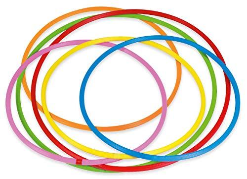 Betzold Hula-Hoop Reifen Regenbogen-Set, 6 Stück, Durchmesser 60 cm