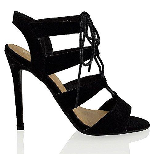 ESSEX GLAM Damen mit schnallen stiletto absatz ausgeschnitten sandalen Schwarz