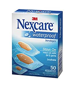Nexcare waterproof clear bandages, assorted - 50 ea