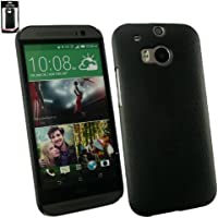 Emartbuy® HTC One M8 2014 Schwarz Ledereffekt Schlank Clip On Hülle Schutzhülle Case Cover