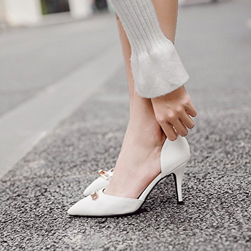 Aisun Damen Klassisch Kunstleder Spitz Zehen Geschlossen Stiletto High Heels Pumps Sandale Weiß