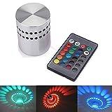 Led Wandleuchte Wandlampe, AGM 3 W LED Gipslampe farbige Wandleuchte Mit IR Fernbedienung Alu. Flurlampe Fluter Decken (RGB)