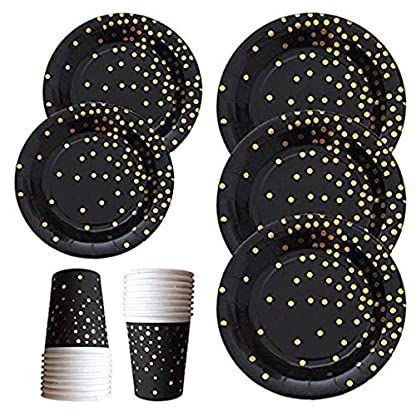 Qintaiourty-Juego de 60 platos de papel desechables con diseño de lunares dorados para 20 invitados, vacaciones, fiestas de Navidad