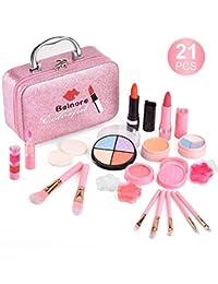balnore 21 Pcs Maquillage Lavable Jouet Ensemble, Sain, Non-Toxique, Cosmétique Beauté pour Enfants Jouer Jeu Halloween Anniversaire Noël