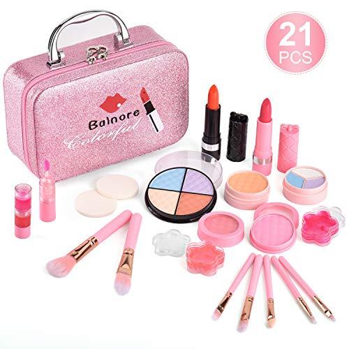 balnore Makeup Set Makeup Spielzeugset Schminkset 21 teilig waschbar sicher ungiftig echt kosmetisches Beauty-Set für Kinder Spiel Halloween Weihnachts Geburtstag(Pink)