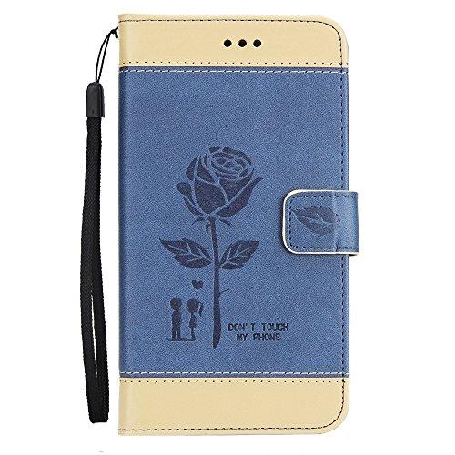 Dual Color Matching Premium PU Leder Flip Stand Case Cover mit Karte Cash Slots und Lanyard für Samsung Galaxy HINWEIS 4 ( Color : Brown ) Blue