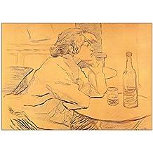 Toulouse Lautrec - The Hangover, Poster Affiche Papier Murale Pop-Art Décoration Intérieure Reproduction Peinture avec Dessin Coloré. Grandeur: C6, 114 x 162 mm