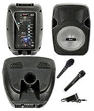 Enceinte active amplifiée haut-parleur rechargeable karaoké portable avec Bluetooth, radio, Echo, Eco, USB, SD, MMC, MP3, WMA, microphones sans fil, entrée Guitare, égaliseur et effet de lumière LED