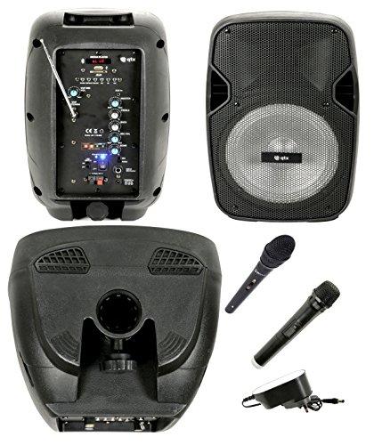 Aktive Lautsprecher Verstärker Lautsprecher Karaoke Notebook Akku mit Bluetooth, Radio, Echo, Eco, USB, SD, MMC, MP3, WMA, kabellose Mikrofone, Eingang Gitarre, Equalizer und Effekt Licht LED