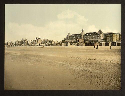 Vintage vista di spiaggia e casino, malo-les Bains, Francia, Large A3misura 41by 29cm tela foto