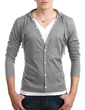 Chaqueta Punto Cárdigan Con Capucha Manga Larga Camiseta Suéter Jersey Para Hombre