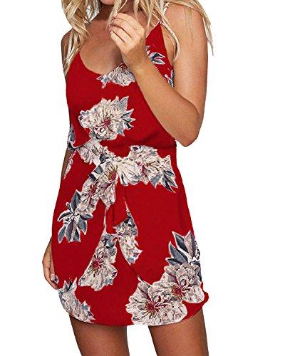 ACHIOOWA Sommerkleid Damen Boho Ärmellos Strandkleid Chiffon Rock Casual Mini Schulter Overall Playsuit Rot L -